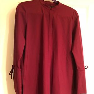 NWT Lafayette 148 burgundy button down blouse in S